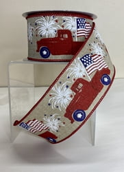 "4th of July Truck with Flag - 2.5"" x 10 Yards"