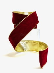 Burgundy Gold Backed Velvet Ribbon