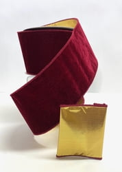 7-1 Burgundy Gold Backed Velvet Ribbon